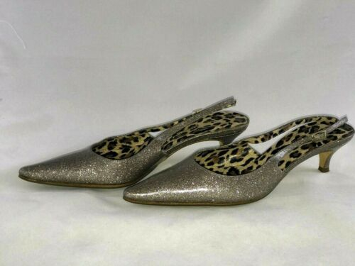 Dolce & Gabbana Platinum Sparkly Kitten Heels