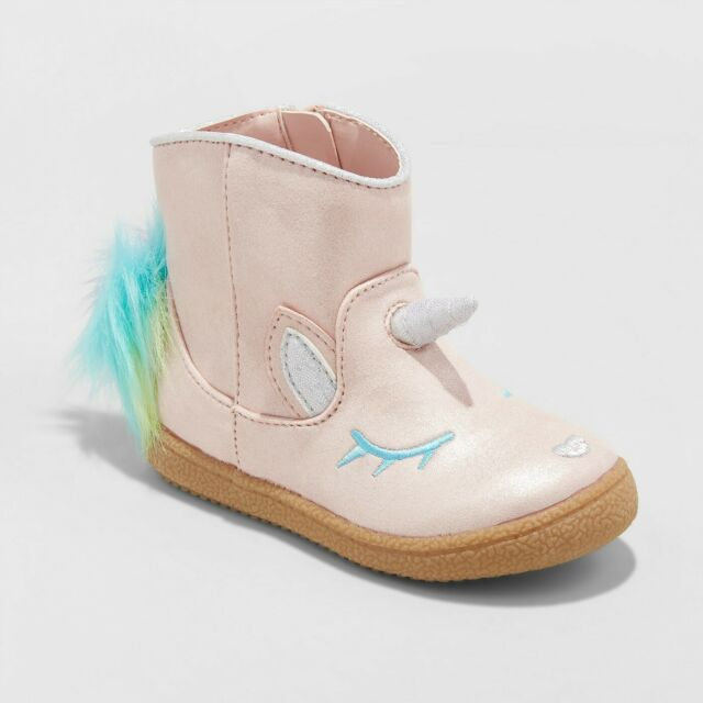 Toddler Girls' Leticia Metallic Unicorn Ankle Boots - Cat & Jack, Brand New!