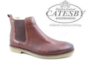 5dcdd6c2d48 Details about Mens Leather Dealer Boots Catesby Chelsea Ankle Pull On Crepe  Rubber Sole Brown