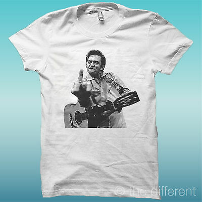 "T-SHIRT "" JOHNNY CASH ""  COLORE BIANCO THE HAPPINESS IS HAVE MY T-SHIRT NEW"