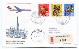 CréAtif Ffc 1967 Swissair First Flight Basel Zurich Wien Registered Annahme Flughafen