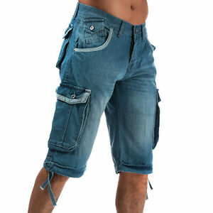 Homme-Crosshatch-Noir-Label-Newburg-Cargo-Denim-Shorts-En-Bleu-Clair-Bouton