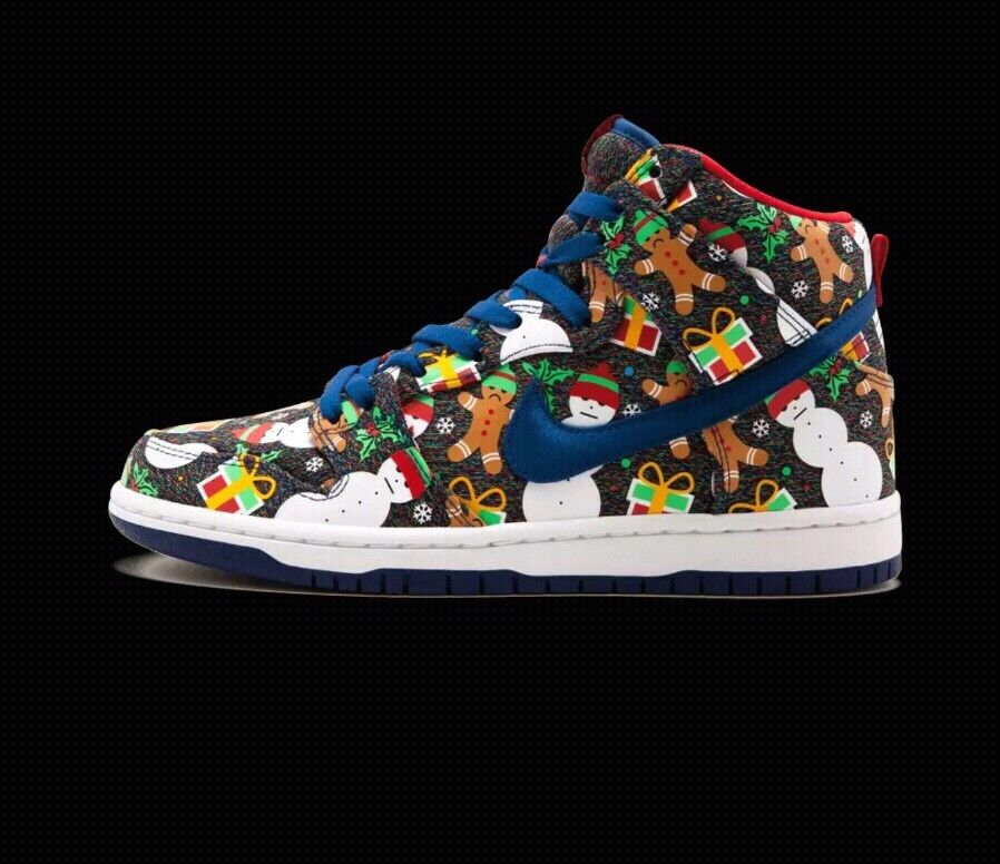 DS Nike Dunk high SB QS Ugly Christmas Sweater PS Size 11C kids