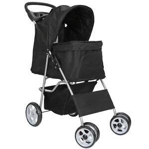Foldable-Carrier-Strolling-Cart-Four-Wheel-Pet-Stroller-for-Cat-Dog-and-More