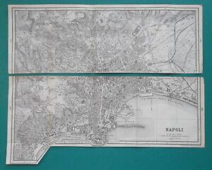 NAPLES-Town-Plan-Italy-1883-MAP-Baedeker-12-x-17-5-034-30-x-44-cm
