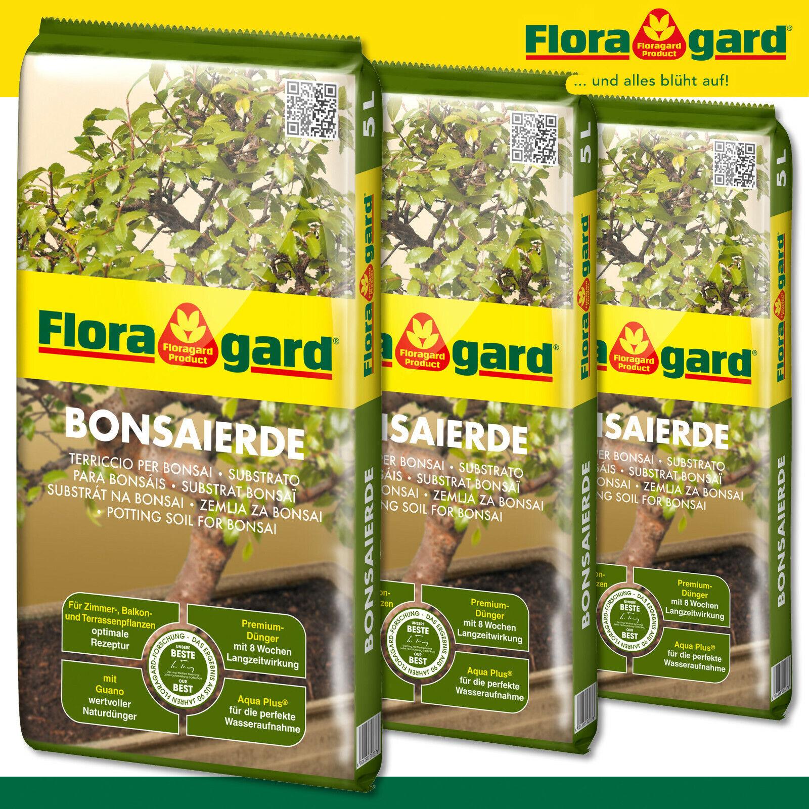 Floragard 3x 5L Bonsai Soil Sapling Nutrients Care Growth Plants