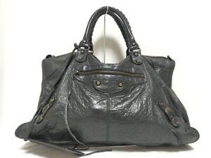 Auth-BALENCIAGA-The-work-132110-Black-Leather-Handbag