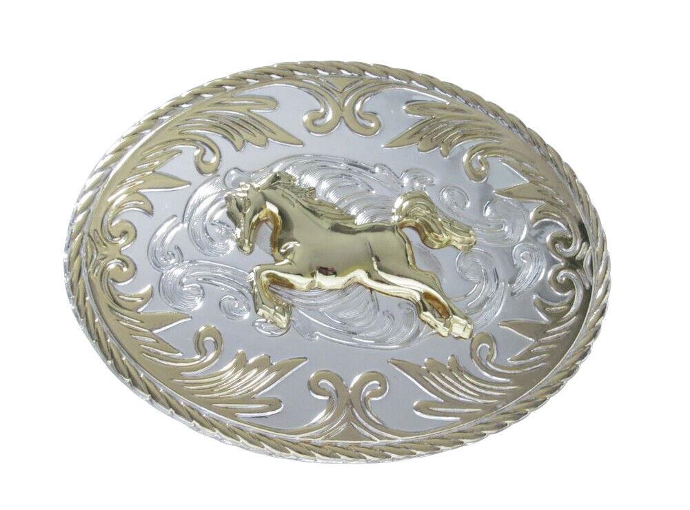 Gürtelschnalle Golden Und Versilbert Pferd Stil Cowboy Reiten