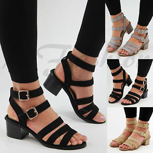 5c4b14df1e1 New Womens Mid Block Heel Sandals Buckle Ankle Strap Summer Strappy ...
