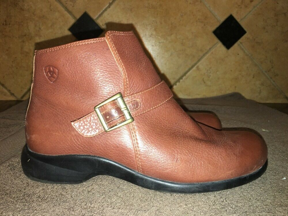 Ariat 20020 Belmont  Brown Leather Ankle Boots Sz 8.5 B