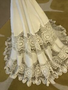 BEAUTIFUL-Vintage-Antique-Circular-White-Linen-Lace-Tablecloth-58
