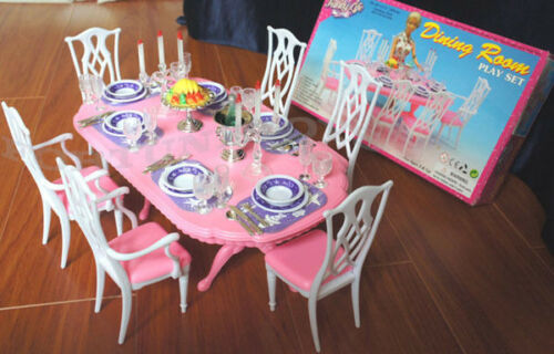 GLORIA DOLLHOUSE FURNITURE 6 CHAIRS DINING ROOM W// Spoons Silverwares PLAY SET