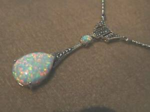 Antique style Sterling Silver Opal Marcasite Peardrop statement Necklace