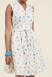 Modcloth-M-Community-Brunch-Shirt-Dress-Travel-World-Compass-Map-Binoculars
