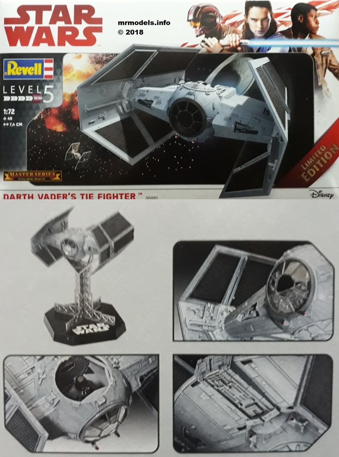 Revell 1 72 Star Wars Darth Vader's Tie Fighter New Fine Molds Model Kit 06881