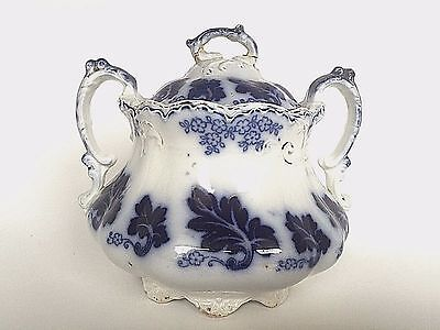 Antique Johnson Brothers Normandy Semi Porcelain Flow Blue Sugar Bowl England