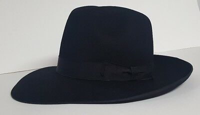 "Imperfect Borsalino fedora New Black hat size 53 US 6 5//8ths  3 7//8ths/"" Brim"