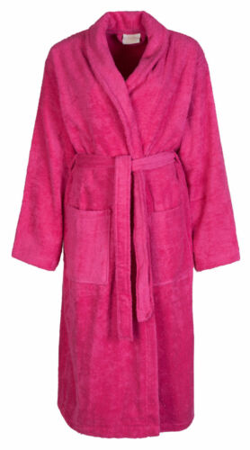 Ladies Womens 100/% Cotton Terry Towelling Shawl Collar Bath robe Dressing Gown