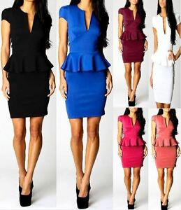 Womens-Peplum-Cutout-Frill-Bodycon-Sleeveless-Dress-Ladies-Party-Celebrity-9005