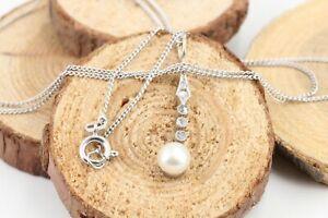 Diamant-Perle-Gold-585-14L-Weissgold-antik-5-Altschliff-ca-0-09ct-Laenge-50cm
