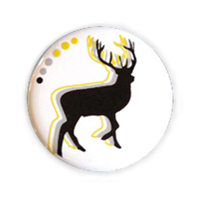 Badge CERF stylisé Noir / BLANC Cervo Deer design nature animals button Ø25mm