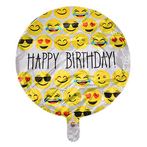 Image Is Loading 1X Happy Birthday Emoji Mylar Balloons Yellow Faces