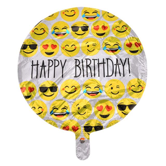 Emoji Balloon 18 Happy Birthday Foil Betallic Helium Balloons Party Decor 3C