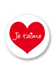 Pines Pin Button Badge ø25mm 1 Coeur Je Taime I Love You