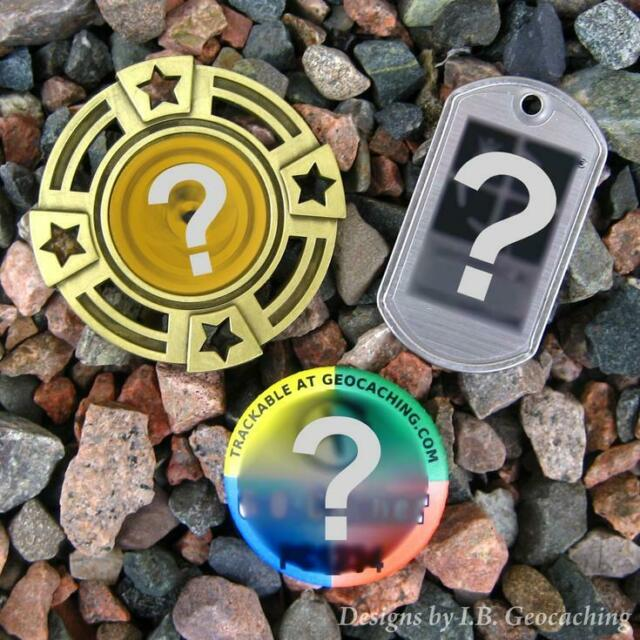Three (3) Random Geocaching Trackables (Geomedal, Dog Tag, Button, Unactivated)