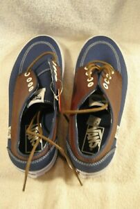 54295b448e VANS Off The Wall Brown Leather Blue Canvas Skate Sneakers Mens Size ...