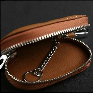 Brown Leather Car Remote Bag Auto Fob Key Holder Storage Case Zipper Pouch New