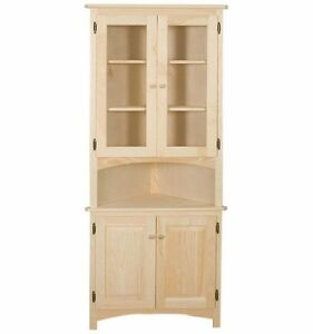 Image Is Loading AMISH Unfinished Solid Pine CORNER HUTCH China Cabinet
