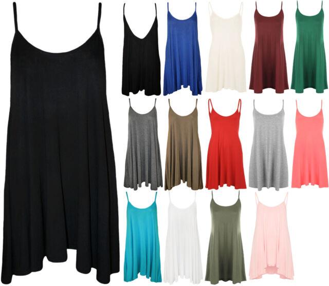 New Plus Womens Plain Strappy Ladies Swing Flared Short Mini Dress Top 16-26