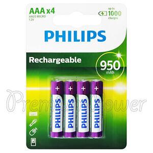 4-X-Pilas-PHILIPS-RECARGABLE-AAA-950-mAh-NiMh-1-2V-HR03-Micro-Pack-de-4