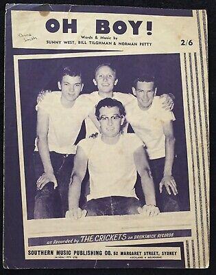 Oh Boy! ~ THE CRICKETS Buddy Holly ~ Sheet Music 1957 | eBay