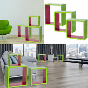 Design-Mur-Etagere-Set-3-Pieces-MDF-Brillant-Ess-Chambre-Decoration-Stand-Depot