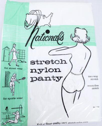 Vtg National/'s Panties 100/% Nylon Stretch White Womens L Large NOS