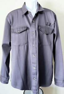 vtg-HABAND-TAILGATER-Button-Up-Shirt-Mens-L-Swaziland-Hipster-Gray-Long-Sleeve