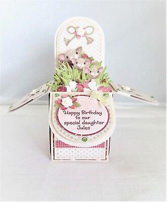 Handmade Personalised Birthday Pop Box Card Cute Mouse Mum Friend Daughter