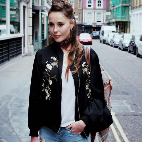 Uk 8 Floral Bomber Blogueurs Petit Zara S Black Oriental ricamato 5A34qRjLc