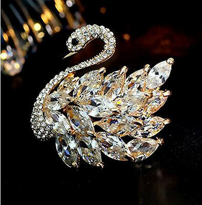 Women's Elegant Swan Bird Crystals Brooches Brooch Pins Rhinestone
