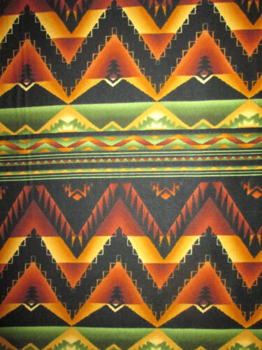 Navajo Diamond Border Print Green Yellow-Gold Orge Bl Cotton Flannel Fabric BTHY