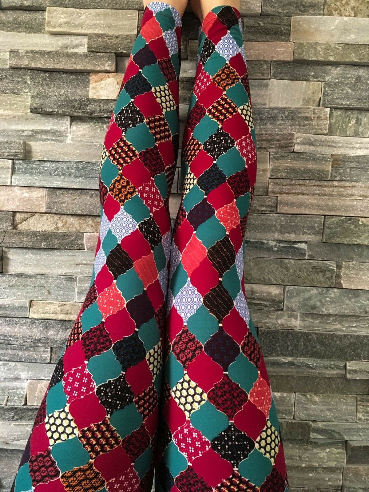 NEW Lularoe OS Quilt Mgoldccan Patchwork Leggings One Size