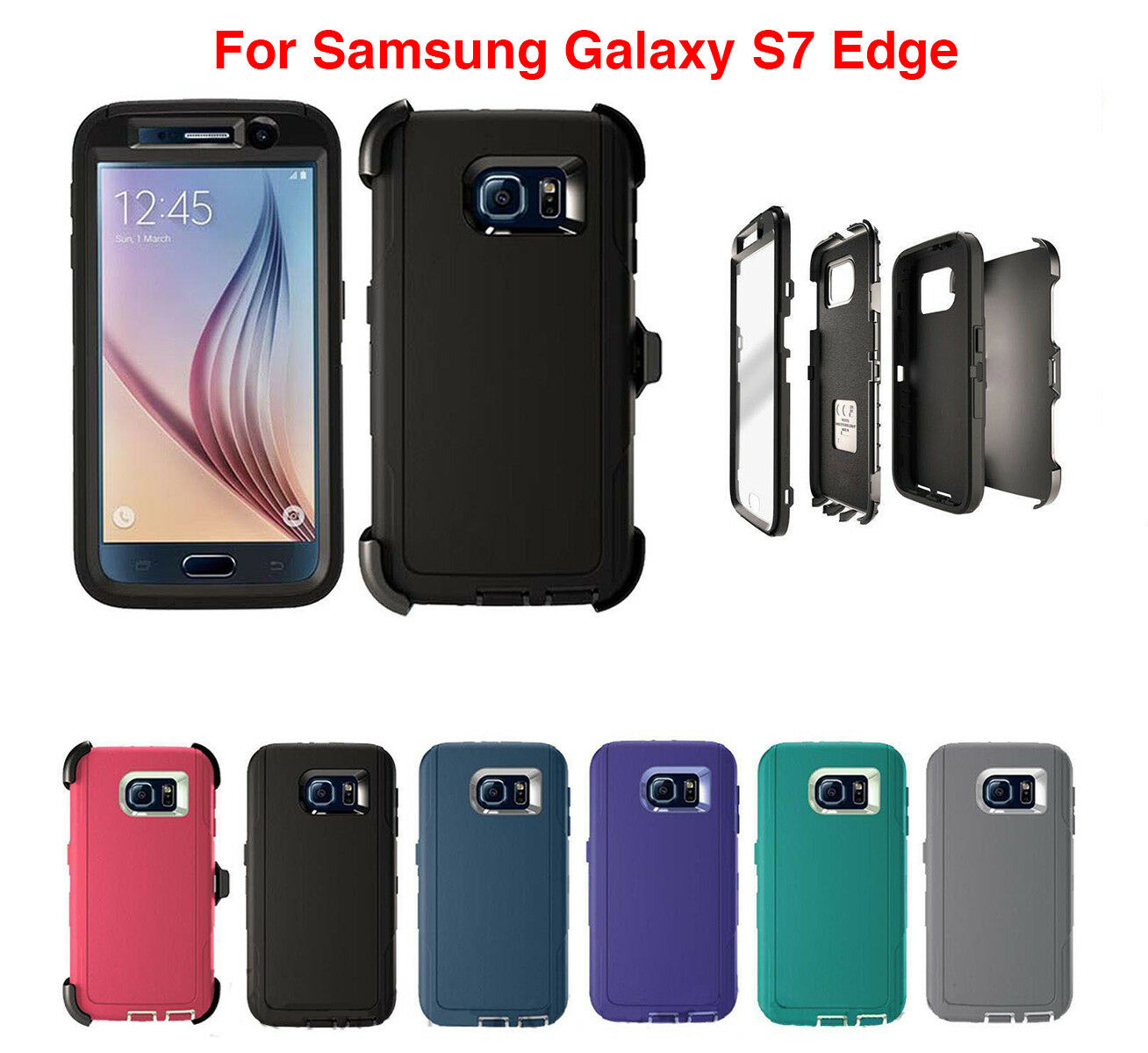promo code 031f7 a6128 Details about For Samsung Galaxy S7 Edge Case Cover With (Belt Clip Fits  Otterbox Defender)