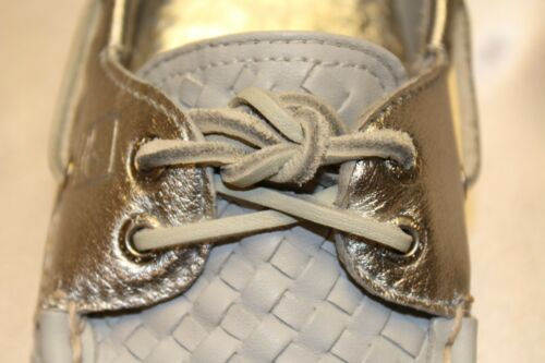 NEW Sperry Top Sider A//O Grey Woven Leather Silver Boat Shoes Sz 9 10 11 NIB