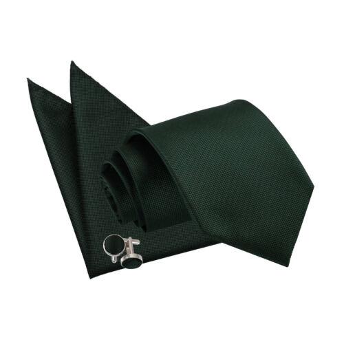 DQT Woven Plain Solid Check Dark Green Men/'s Classic Tie Hanky Cufflinks Set