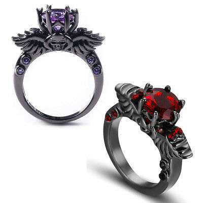 Gothic Black Gold Filled Winged Skull Ring Purple Amethyst Cz Pagan Wedding Red Ebay