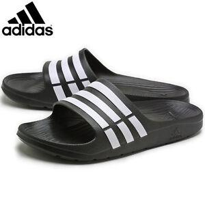 8c37ed405 Mens Adidas Duramo Sliders Flip Flops Sandals Slip On Shoes Black ...