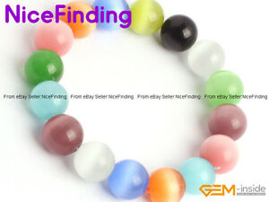 Fashion Multi Color Cat Eye Crystal Beaded Stretch Bracelet Handmade Jewelry 7.5