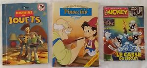 Disney-French-Language-3-Publications-Lot-Mickey-Mouse-Pinocchio-Toy-Story